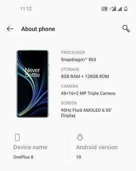 One plus 8 just 3 month old , 8GB ram 128GB internal