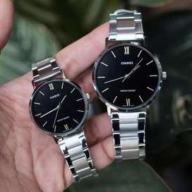 Jam tangan couple casio luxury original silver black