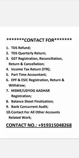 Accounts, gst, tds, pf and esi