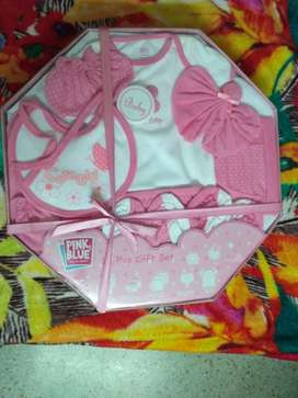 Pink And White Floral Print 12 pieces Baby gift set and baby bedding