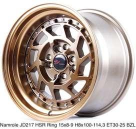 Pelek mobil Corolla ring 15 tipe NAMROLE JD217 HSR R15X8/9 H8X100-114,