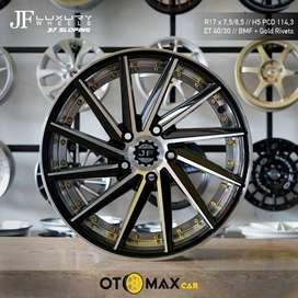 Velg Mobil JF Sloping Ring 17 H5 Black Machine Face+ Gold Rivert