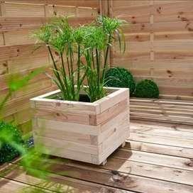 Pot bunga kayu jati belanda