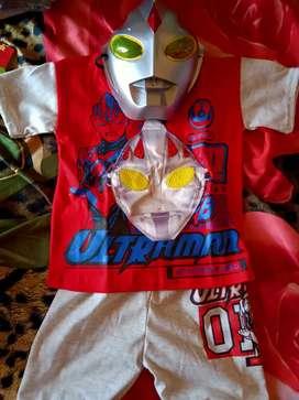 Baju anak led ultraman+topeng