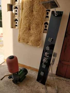 Shower bath panel with pressure pump
