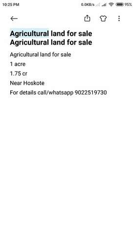 Agricultural land for sale at 1.75 cr for 1 acre near Hoskote