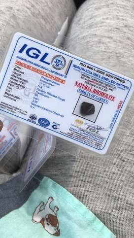 Rodholite / RED BERYL, Certified by IGL 7ct