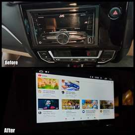 Before After- Headunit Android Orca Mobilio Lengkap Maps YouTube Spoti