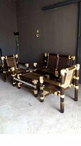 Kursi teras bambu satu set