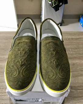 Versace Leather Suede Slip On Sneakers