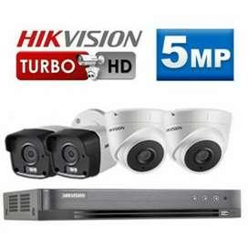 Paket lengkap 4 kamera cctv Hikvision 5Mp Ultra HD  Gratis pasang.