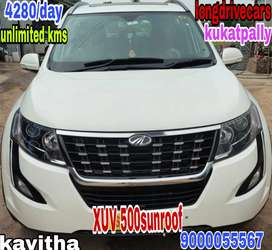 4280/day unlimited kms for XUV 500 top end sunroof for self drive
