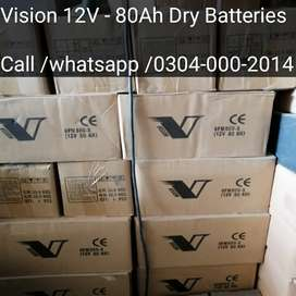 80Ah & 100Ah Dry Batteries Fresh Stock