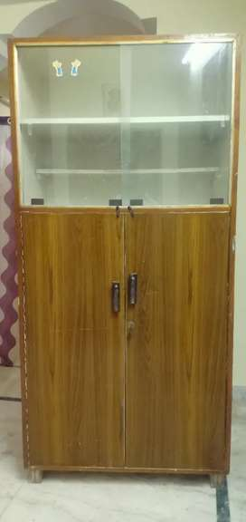 Wooden and glass cupboard