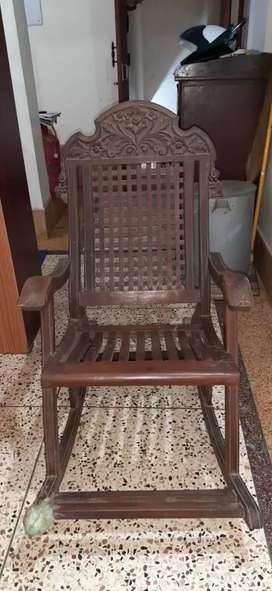 Old vintage carved wooden ricking chair...nearly 50yrs old!