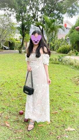 Jual party dress brokat putih premium