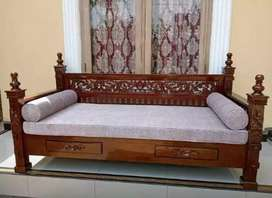 Furniture Bangku bale kayu jati model ukiran + matras guling.