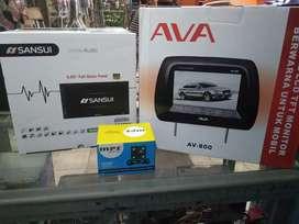 Doubledin tv DVD sansui full glass headrest camera parkir plus pasang