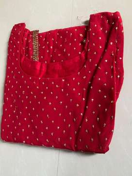 Red salwar with emnroidery