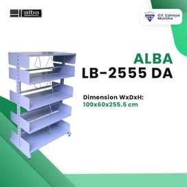 Jual Rak Buku Perpustakaan Double Rak Dua Muka Alba LB-2555-DA