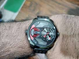 Original Ferrucci Black Men's branded Twin time Watch with 3D Dial
