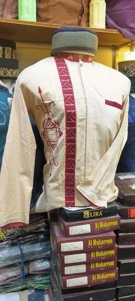 Baju taqwa/koko lengan panjang istimewa bordiran kain katun combinasi.