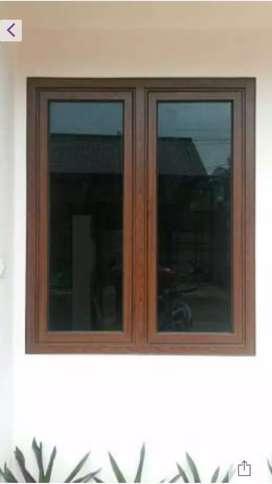 jendela kaca motif urat kayu alumunium siap antar
