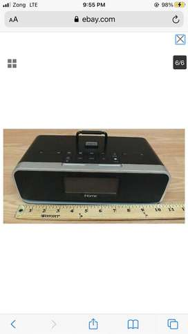 IHome IDL95 Dual Alarm Clock Radio Stereo with Iphone Charger