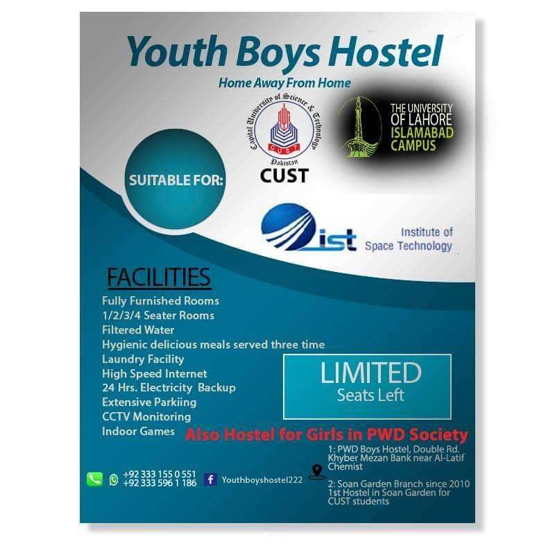 PWD Youth Boys Hostel for jobians bahria town and students 0