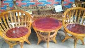 Kursi teras mangkok kayu jati ready