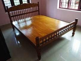 Teak wood double bed cot x 2