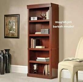 Lemari buku minimalis mewah, P. 100x200, bahan kayu jati tua asli