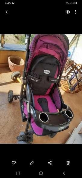 LuvLap Baby Stroller or Pram Pink and black colour