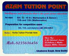 Tution for class 7th to 12th (Mathematics)