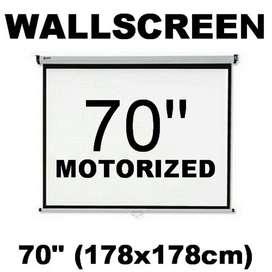 Motorized Wallscreen Projector 70 Inch Layar Dinding Proyektor
