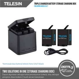 Telesin 3 Slot Baterai Charger Telesin GoPro Hero 5 6 7 8 Black Charge