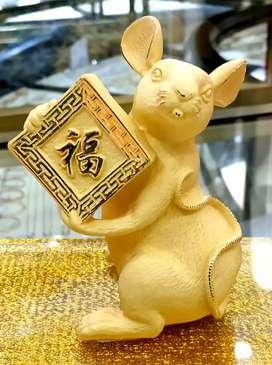 LuvDee Patung Pajangan 24K Tikus Fu kado souvenir imlek