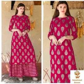 Manya fashion  Beautiful rayon kurta set with plazzo at just rs 700
