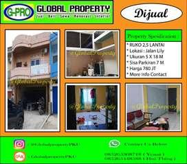 Dijual Ruko 2,5 Lantai Tengah Kota Daerah Lily