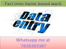 Simple DATA ENTRY work Part time HOME BASE job EARN 4500 to 6000/-