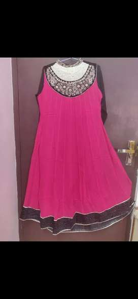 Rani pink colour anarkali kurti. Size L, alterable