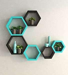 hexagon shaped wall shelves