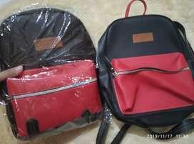 2 pcs tas ransel mini salvora hitam merah murah tas cewek