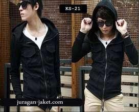 Jaket Cotton Black Hooded Style