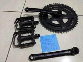 Crankset crank dual chainring BB kotak OEM roadbike 52t + pedal