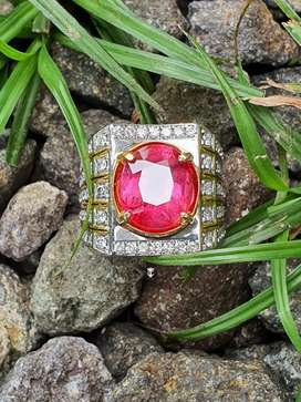 Padparadscha Sapphire Madagascar 5.43Ct Hbe Gold Diamond GRI Certified