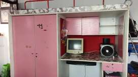 Bunk bed with spacious cupboard and computer tabel