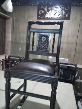 8 chairs wood just like new 1 month used  price 28000/ 3500 pr chair