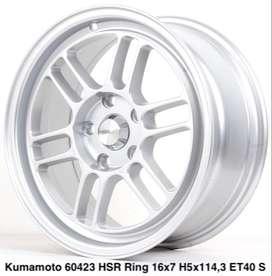 jual velg,KUMAMOTO 60423 HSR R16X7 H5X114,3 ET40 SILVER