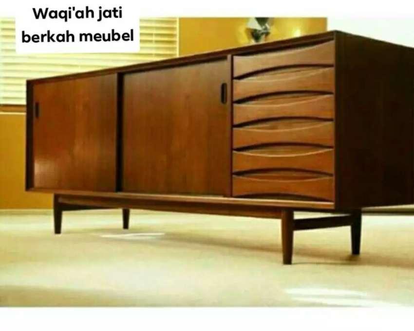 Meja tv retro modern, P. 150cm, bahan kayu jati tua terbaik